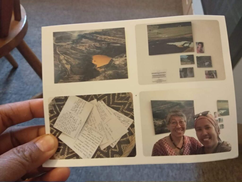 The Extracting Us Exhibition is remembered with a special postcard printed by Yuyun Ismawati, an Indonesian scholar-activist who visited the gallery and attended the reading group (Photo: Siti Maimunah)