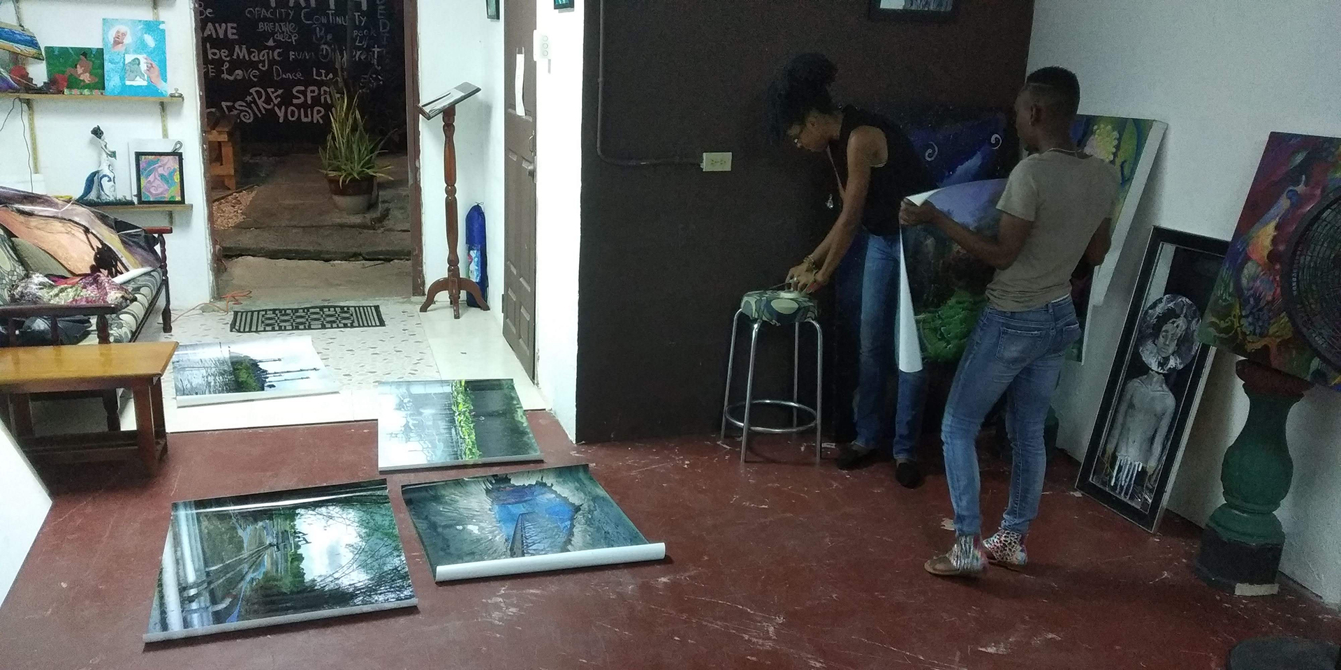 Image of Maica Gugolati's work in Art Center East Yard 30th August 2019. Arima, Trinidad and Tobago (WI). Digital photoprint on commercial waterproof material for advertisement; Printed in TT.