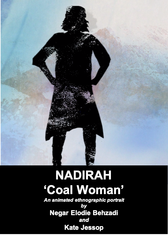 Poster for Nadirah coal woman, animated ethnographic portrait