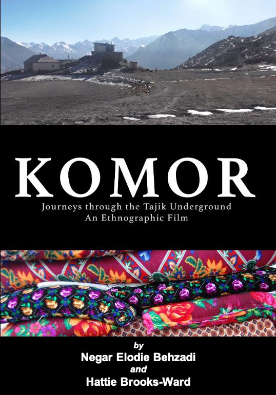 Poster for  Komor: Journeys through the Tajik underground . film by Negar Elodie Behzadi and Hattie Brooks Ward