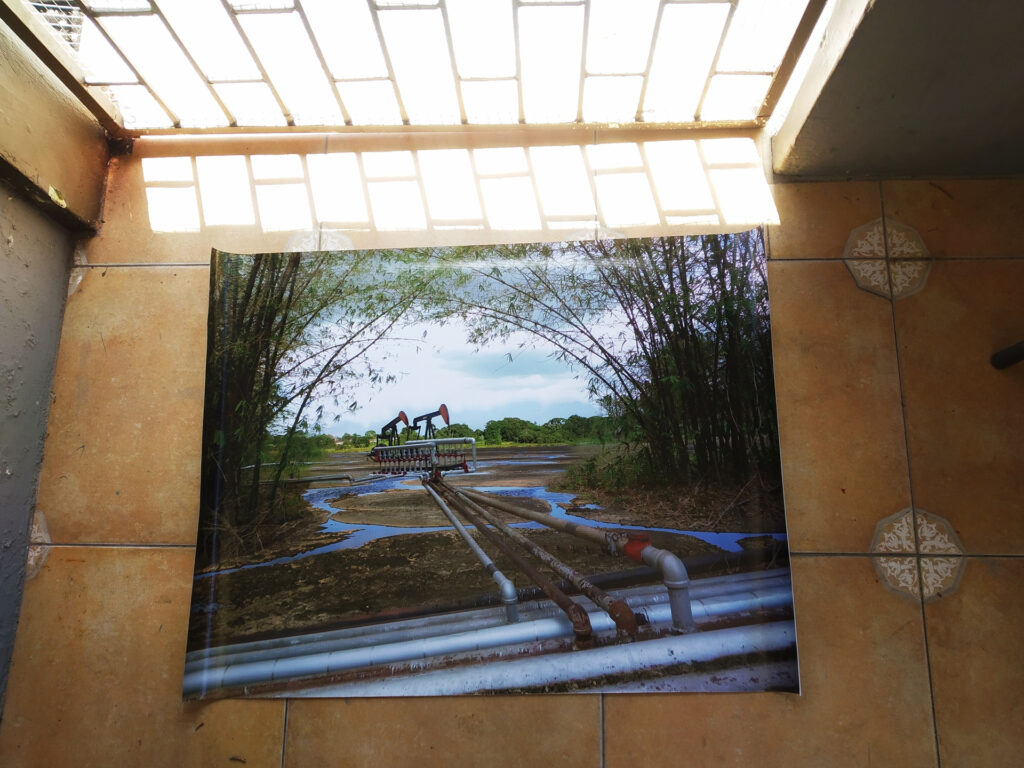 Image of Maica Gugolati's work in Art exhibition at Sainsbury Centre' School court, Norwich, UK, 3rd-6th September Digital photoprint on commercial waterproof material for advertisement; Printed in TT.