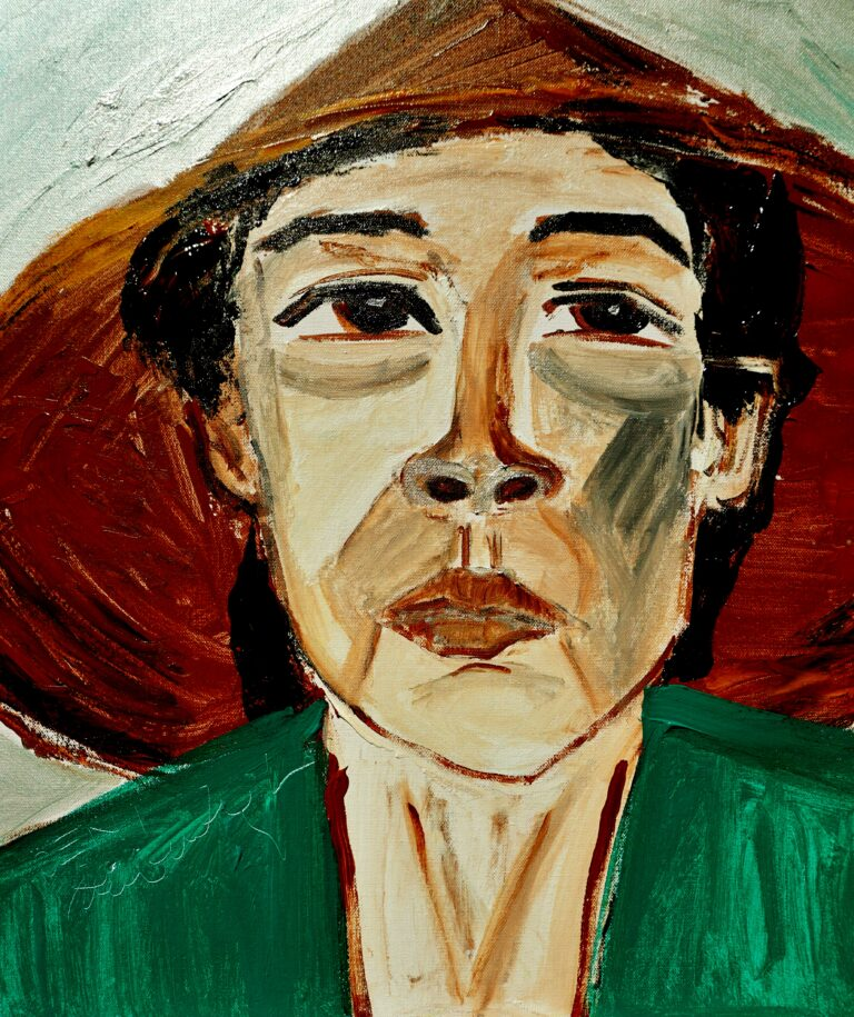 A painting titled 'DENI' depicts a portrait of the woman wearing a teal coloured shirt and a conical hat.