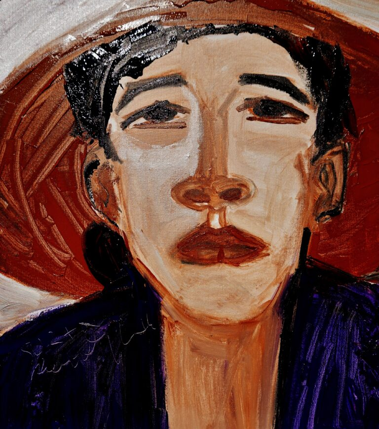 painting titled 'Surani' depicts a portrait of a woman wearing an indigo-coloured shirt and a conical hat.