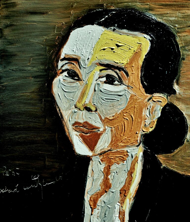 painting titled 'Paini' depicts a portrait of the woman in a tied bun and wearing a black shirt.