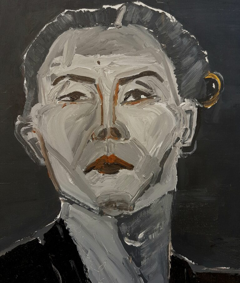 A portrait titled 'Gunarti' which depicts an Indonesian woman painted in grey, black and brown hues.
